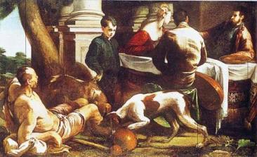 Il dipinto 'Lazzaro ed il ricco epulone' di Jacopo Bassano (1554, Museum of Art - Cleveland)