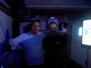 Il direttore Palumbo e il capo-operatore De Fazio, nella penombra della sala di proiezione 3D (Foto: Ste. Pa.)