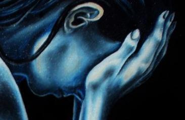 """Nella foto: Paola Comito, particolare quadro """"Disperazione e abbandono"""", olio su tela, (2005)"""