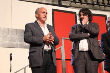 Nella foto di home page: un'immagine dello spettacolo - nella foto interna: il consigliere delegato alla Cultura Eleno Mattei e il direttore artistico del festival Ercole Ammiraglia (Foto: g.m.t.- archivio TevereNotizie)