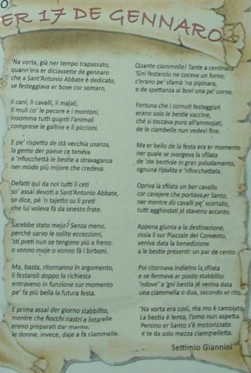 Una canzone in dialetto montopolese dedicata a Sant'Antonio Abate (Foto: La. Ber.)