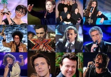 Alcuni dei cantanti in gara alla 60° edizione del Festival della Canzone Italiana, condotto dal 16 al 20 febbraio da Antonella Clerici